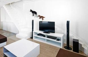 Os cachorros desta casa tem uma escada especial e menor, com os degraus mais curtos que o normal. Projeto do escritório de arquitetura 07Beach