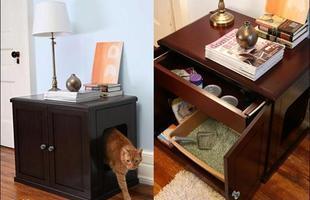 O armário é dele - dentro é a casinha e nas gavetas estão a comida e a caixa de areia