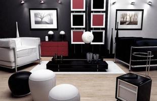 Além do preto e branco, o vermelho também pode estar presente, deixando o ambiente mais descontraído