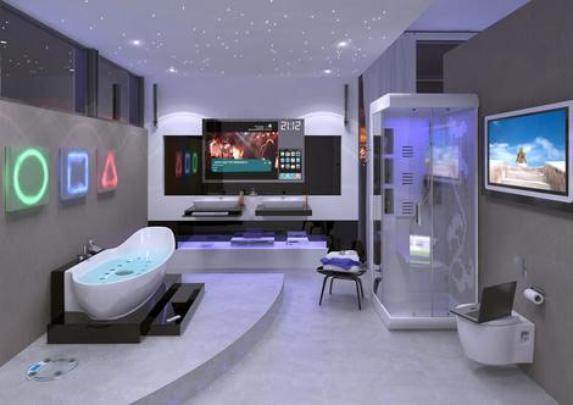 O banheiro Hi-Tech Digital, criado pela Ideal Standart, possui uma televisão para assistir enquanto faz hidromassagem