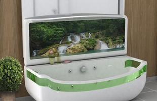A banheira com design moderno inova com tela de LED que transmite imagens de paisagens