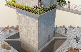 Nos Estados Unidos, o projeto prevê que os moradores vivam dentro de uma torre de 9 m de altura cercada por uma plataforma metálica