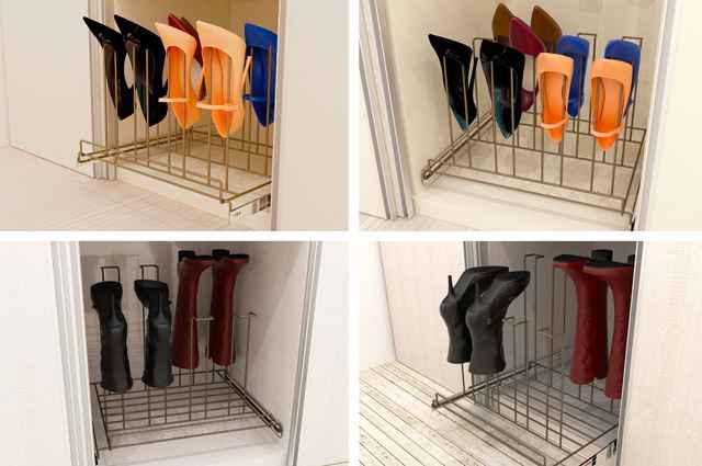 Proposta de sapateira acomoda vários tipos de calçado em um único produto, que pode ser facilmente instalado em dormitórios e lavanderias - Divulgação/Intervento Design
