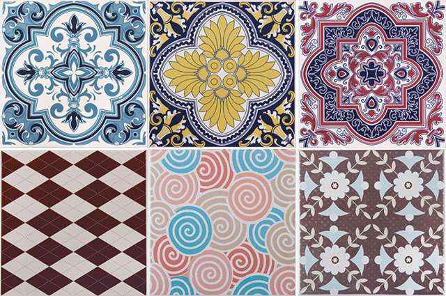 Coleção de azulejos decorados traz nuances do século passado na representação de desenhos clássicos com formas geométricas, espirais e florais - Divulgação/Cerâmicas Portinari