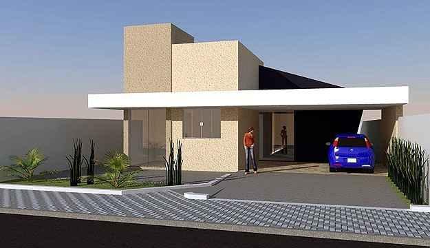 Com arquitetura de linhas contemporâneas e execução simples, a ideia desta residência de três quartos pode ser comprada por valores a partir de R$ 390 - Loja de projetos/Divulgação