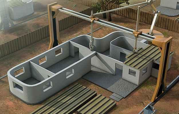 O sistema pode ser utilizado em uma situação de desastre natural, em que as casas precisam ser reconstruídas em pouco tempo - Divulgação/Contour Crafting