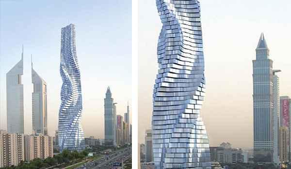 Esta obra possui mais de 80 andares e é movida por 79 turbinas eólicas. A torre muda seu formato, sendo possível girar todos os seus andares para lados diferentes - Reprodução da internet