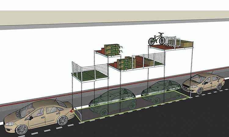 Modelo de parklet que será instalado em BH já é realidade em São Paulo e Fortaleza: processo não exige licitação, apenas autorização da PBH - Prefeitura de Belo Horizonte/Divulgação