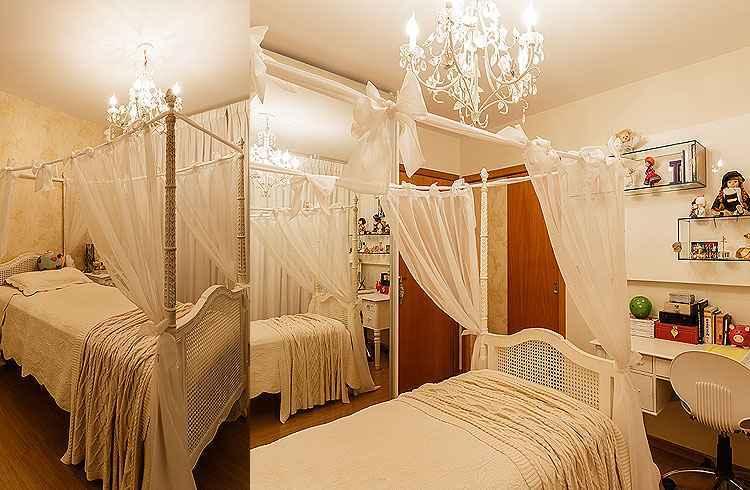 Projeto da designer de interiores Iara Santos: ideal é usar o dossel em um quarto maior para que ele apareça e não pese o ambiente - Osvaldo Castro/Divulgação