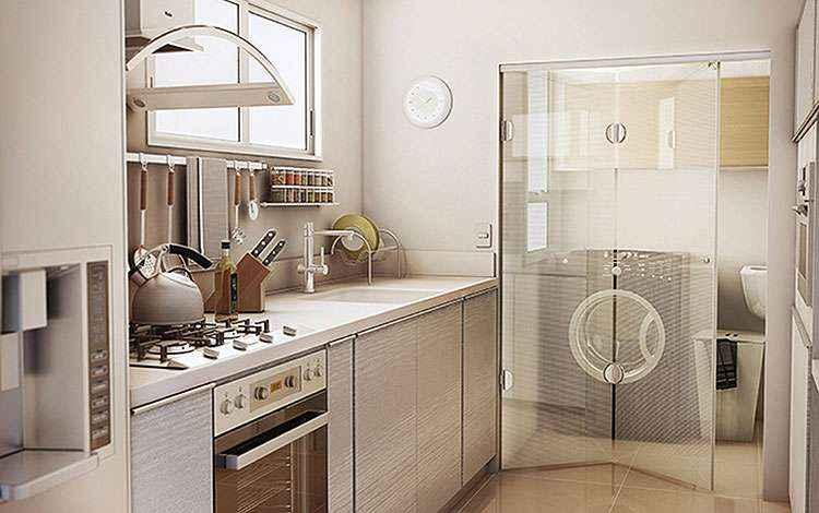 Integração entre cozinha e área de serviço é feita de forma harmoniosa e com charme - Idea Glass/Divulgação