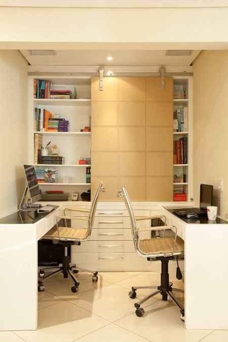 Neste projeto, o quarto de empregada foi transformado em escritório - Reprodução/Pinterest