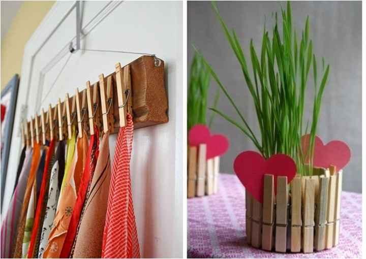 Além de sua real utilidade, os prendedores podem exercer funções decorativas. Um cabide diferente para o armário ou um vaso de plantas bem charmoso para a varanda. Ainda podemos decorá-los, dar novas caras ao marrom original e deixar o espaço mais colorido - Reprodução Pinterest