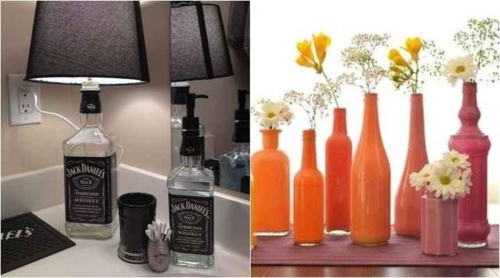 Fure o fundo da garrafa com uma furadeira e coloque o fio interruptor para um abajur diferente - Reprodução Pinterest