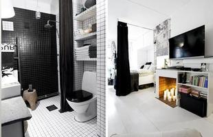 As pastilhas, cortinas e elementos pretos deixam a decoração do banheiro e da sala mais s[obria