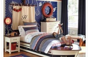 Sala, quarto do bebê, banheiro, área da piscina - qualquer ambiente pode ser decorado com o tema Navy