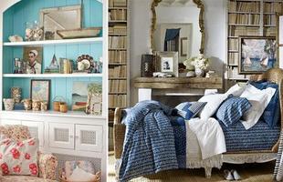 As cores predominantes são o azul, o branco e o vermelho, presentes em estampas listradas nas almofadas e cortinas