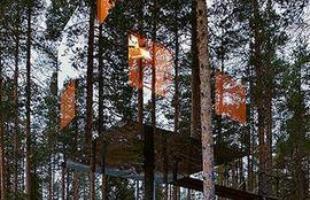 Na Suécia, a Tham & Videgård Arkitekter fez o Mirrorcube Tree Hotel