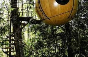 A Free Spirit Spheres, localizada no Canadá, brinca com formas lúdicas