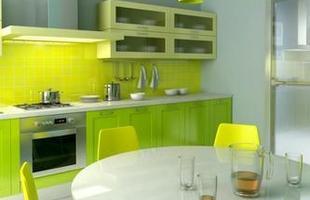 Cores como verde, amarelo, vermelho, são as mais vistas nas cozinhas modernas - as cores alegres deixam o ambiente mais divertido