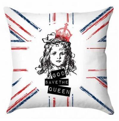 Capa de almofada confeccionada em tecido gabardine (40x40cm). Estampa com a mensagem 'God save the queen' confere maior charme ao seu visual.