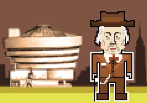 Frank Lloyd Wright a frente do Museu Guggenheim.