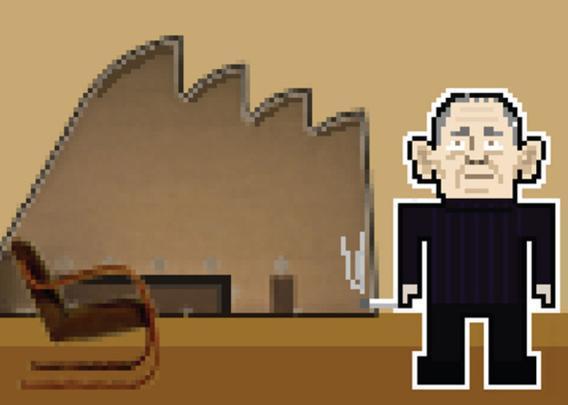 Alvar Aalto com a sua cadeira Cantilever e a Igreja e Centro Paroquial de Riola.