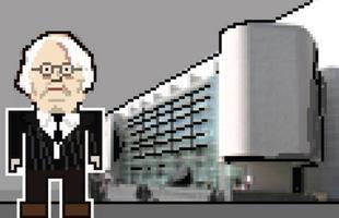 Richard Meier com o seu Museu de Arte Contemporânea de Barcelona.