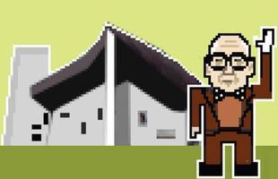 O arquiteto Le Corbusier é mostrado ao lado da Capela de Ronchamp, na França.