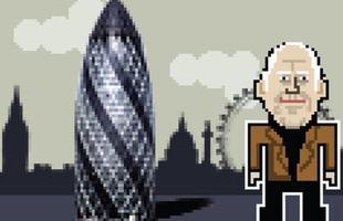 Norman Foster com a torre Gherkin, em Londres.