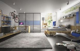 Neste amplo dormitório o adolescente tem liberdade para cultivar seus hobbies, assistir tv, e, claro, estudar. A mesa ampla dá espaço para os materiais escolares e ainda para o computador