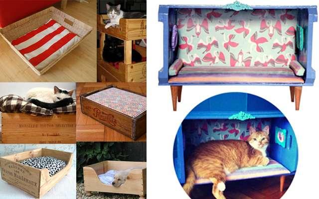 Até os pets sairam ganhando! É possivel fazer aconchegantes casinhas para os gatos com caixotes de feira reaproveitados - Le Modiste