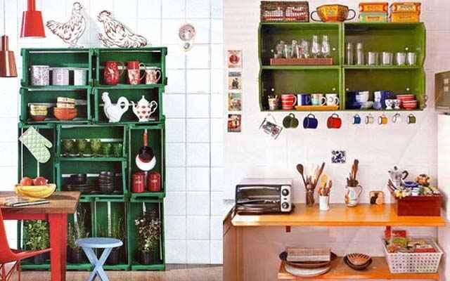 Os caixotes podem substituir or amários da cozinha. A decoração fica bem mais em conta e a funcionalidade é a mesma de móveis comprados nas lojas - Divulgação/Internet