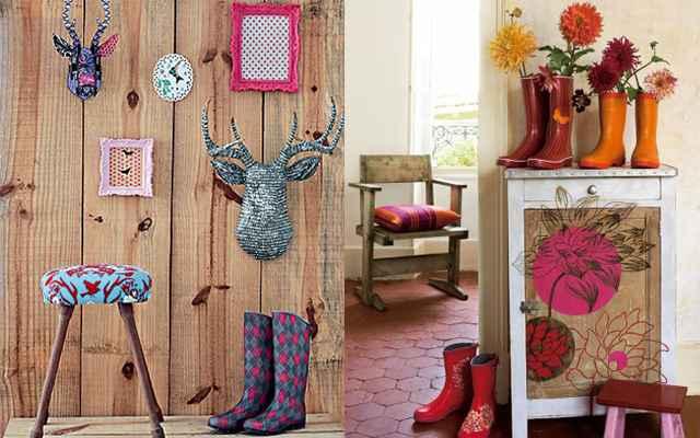 As galochas combinam com ambientes rústicos, decorados com madeira, por exemplo. Quanto mais colorida, mais bonita a galocha ficará na decoração - Reprodução/Internet