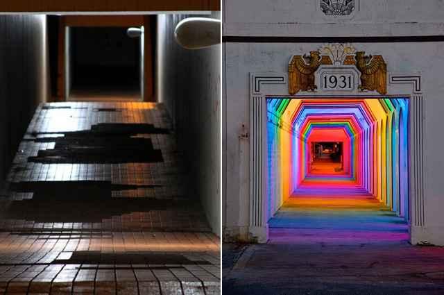 À esquerda passagem subterrânea em Brasília, à direita projeto urbano do artista americano FitzGibbons no Alabama - Foto Montagem/Viola Júnior/Esp. CB/D.A Press