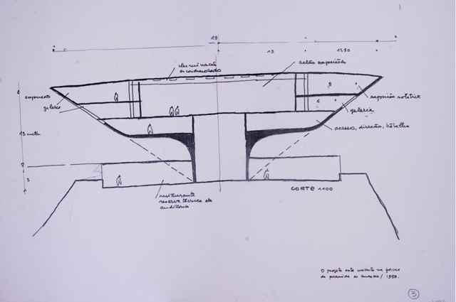 Esboço feito pelo arquiteto para o Museu de Arte Contemporânea de Niterói (Mac Niterói) em 1991 - Fundação Oscar Niemeyer/Divulgação
