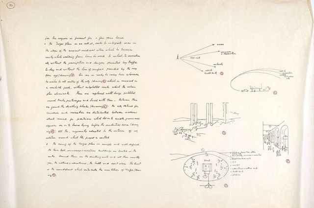Manuscrito de 1964 para o projeto Plano da Cidade de Negev, que não foi construído e está disponível à visualização do público - Fundação Oscar Niemeyer/Divulgação