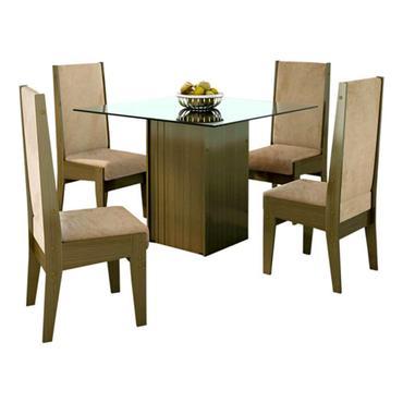 Conjunto de mesa com quatro cadeiras estofadas, da Mobly (R$ 1.337) - Divulgação/Mobly