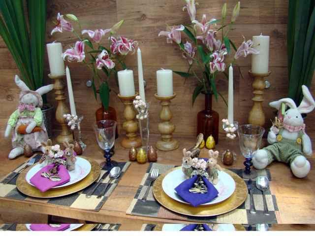 Mesa de Páscoa montada pela arquiteta Cynthia Rondelli: velas são ótimas para celebrar datas festivas - Arquivo Pessoal
