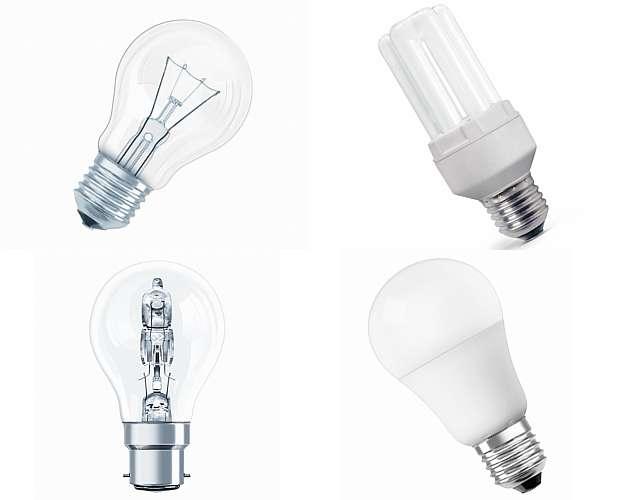 As lâmpadas incandescentes de 60 watts (esquerda, acima) estão dando lugar às fluorescentes (direita acima), halógenas (abaixo,à esquerda) e de LED (abaixo, à direita) - OSRAM/Divulgação