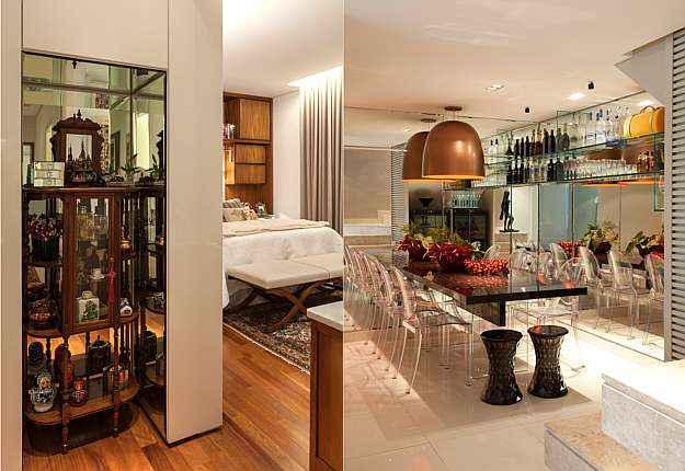Nos projetos do arquiteto Luís Fábio Rezende de Araújo, a cristaleira abriga diversos suvenires, e a estante de vidro destaca coleção de vodcas internacionais - Daniel Mansur/Divulgação