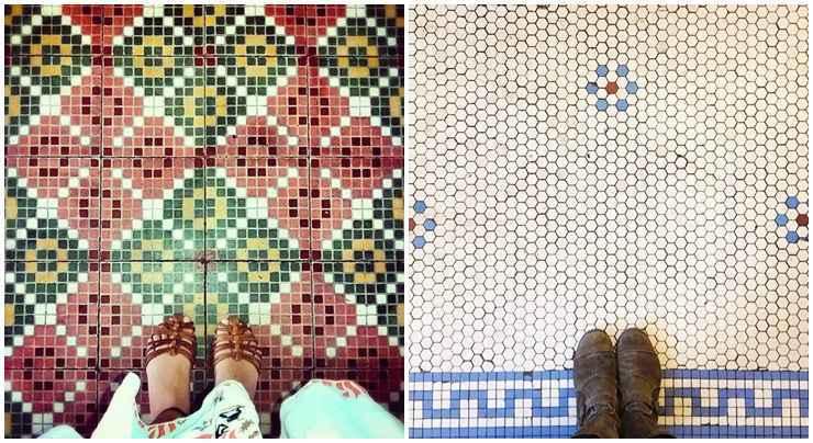 <b>À esquerda</b>: um mosaico  da Igreja Matriz de Senhora Santana, em Itaúna, Minas Gerais. A atual construção é de 1935, mas ela carrega uma história que começou em 1739, quando os portugueses fundadores da cidade resolveram criar por lá um oratório. <b>À direita:</b> um piso da tradicional Glaser's Bake Shop, em Nova York. Uma família de imigrantes alemães abriu a loja em Yorkville, no Upper East Side, em 1902 - Chão que eu piso/Divulgação