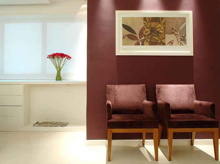 Em outro projeto de Ana Paula e Ana Carolina, um exemplo de como a simples inserção de cor, arte, mobiliário confortável e até um vaso com flores transforma uma sala de espera - C A Arquitetura e Interiores/Divulgação