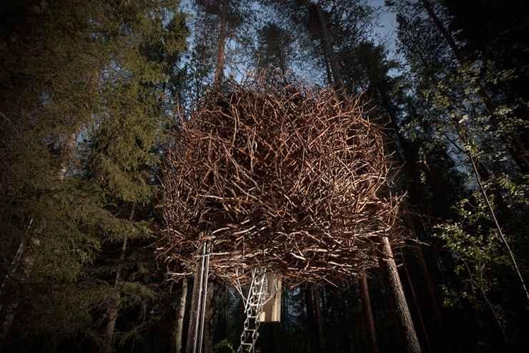 Quarto inspirado em ninho de pássaros no Treehotel, na Suécia - Reprodução / Internet