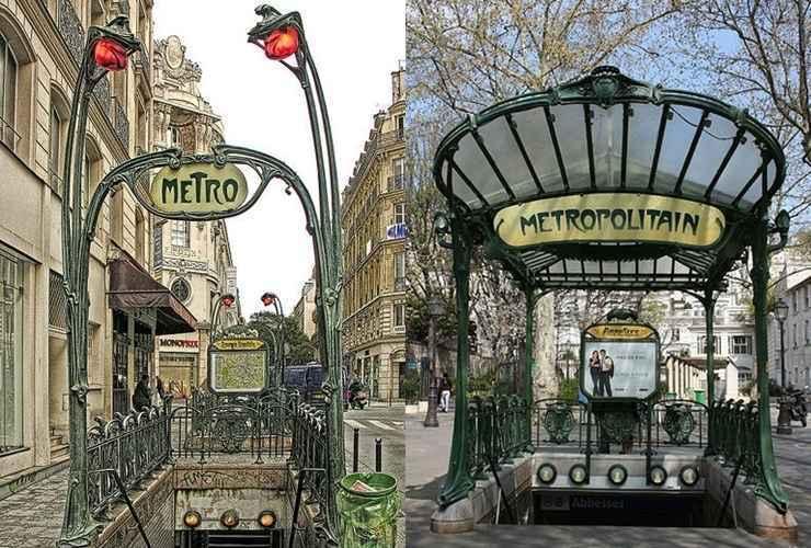Estações Auber (esq.) e Porte Dauphine (dir.), Paris - França - Reprodução / Internet
