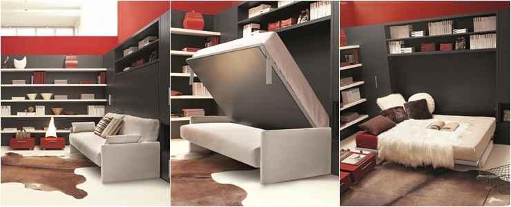 Esse móvel da Mobili pode ser utilizado como sofá durante o dia, já no período noturno, basta puxar o painel atrás do sofá que se transforma em cama de casal - Mobili/Divulgação