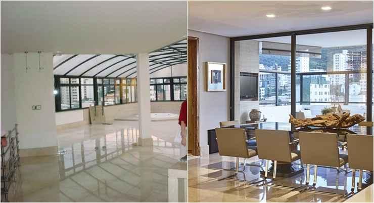 %u200BProjeto Isabela Canaan: Na foto à esquerda, o ambiente com o pilar bem no meio da sala. Na foto à direita, o pilar já eliminado e, no lugar dele, a bela mesa de jantar. - Jomar Bragança