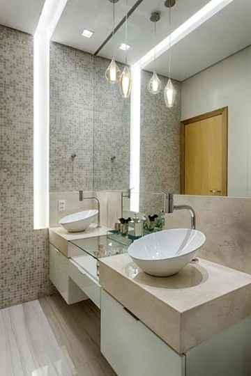 Projeto de Laura Santos: o rasgo de luz deu maior destaque ao lavabo - Gustavo Xavier